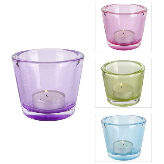 Teelichtglas - konisch - Maße: 8 x 6,5 cm