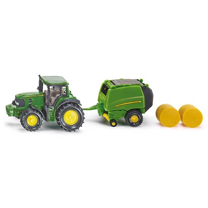 Siku Super 1665 - John Deere Traktor mit Ballenpresse