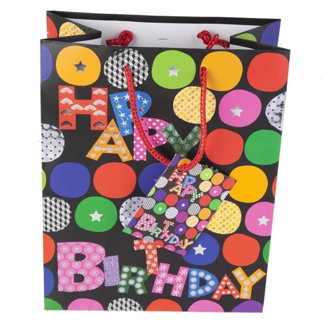 Geschenktasche - Happy Birthday - schwarz - 26 x 12,5 x 32,5 cm