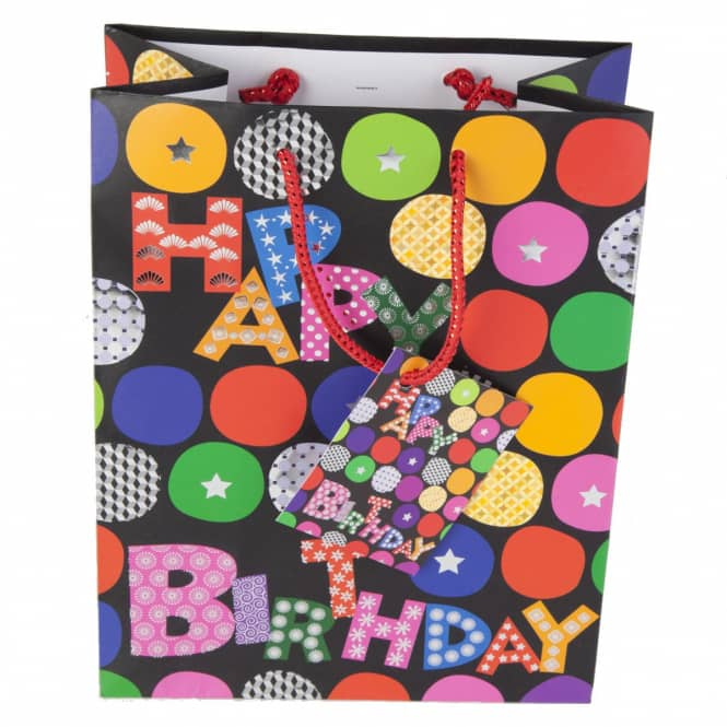 Geschenktasche - Happy Birthday - schwarz - 18 x 10 x 23 cm
