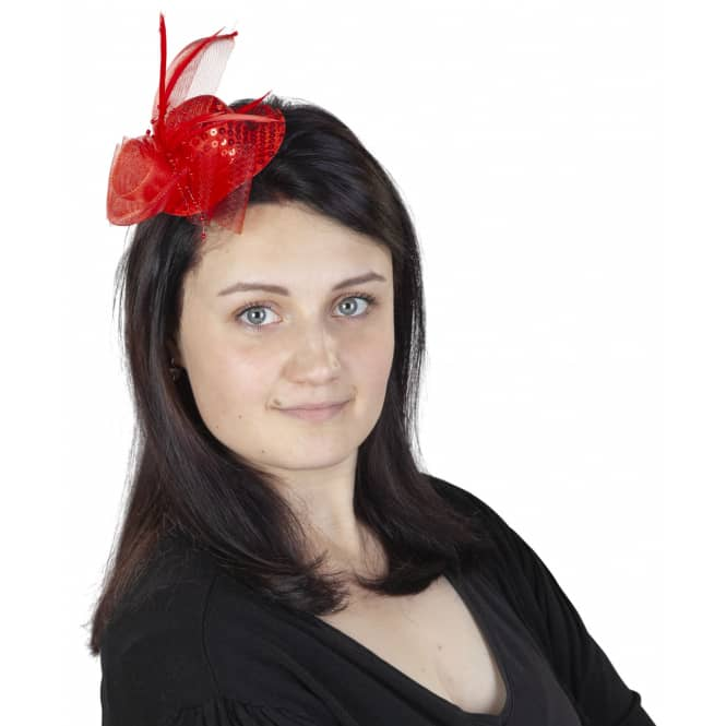 Mini-Hut mit Pailetten, Tüll und Federn - Rot