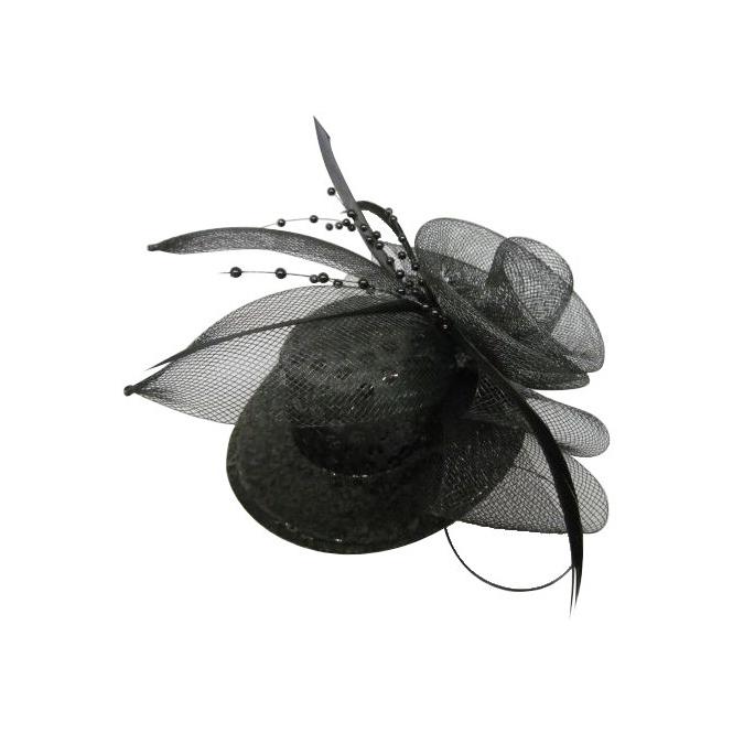 Mini-Hut mit Pailetten, Tüll und Federn - Schwarz