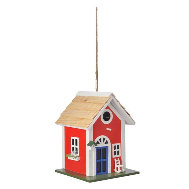 Dekohänger - Vogelhaus - aus Holz - ca. 18,5 x 18,5 x 25 cm