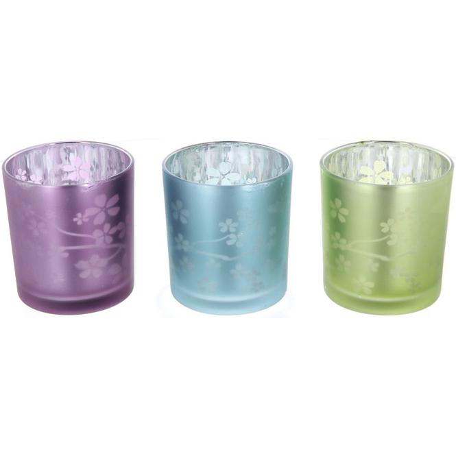 Teelichtglas - Blumen - 7,5 x 7,5 x 8 cm - 1 Stück