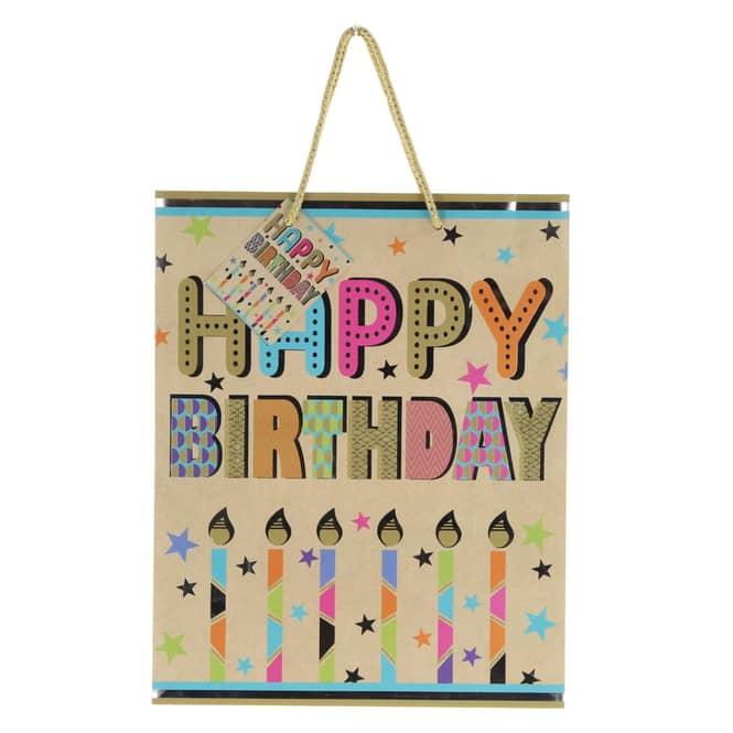 Geschenktasche - Happy Birthday Kerzen - ca. 26 x 32,4 x 12,7 cm
