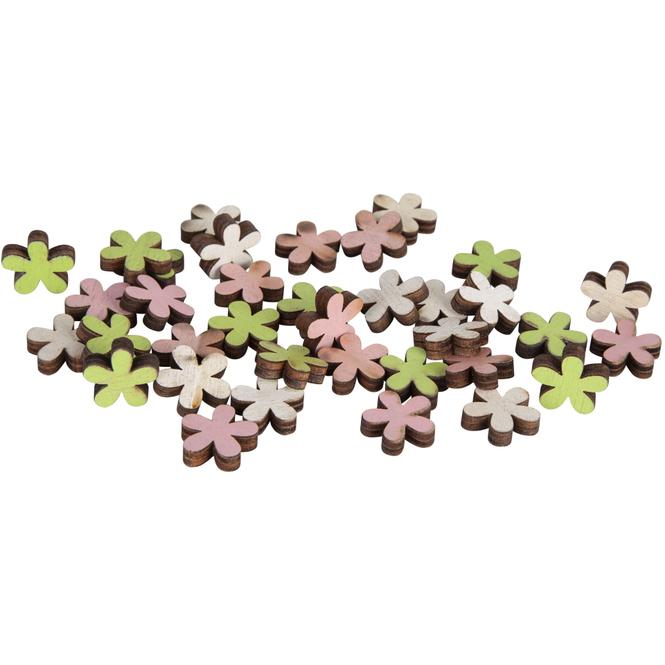 Streudeko - aus Holz - 36 Stück - Blumen