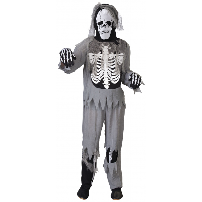 Kostüm - Skelett - für Kinder - 4-teilig - Größe 134/140