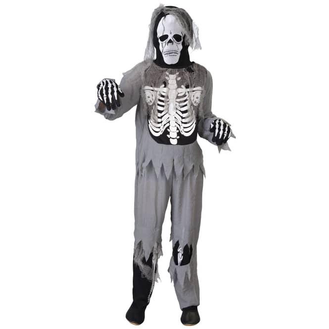 Kostüm - Skelett - für Kinder - 4-teilig - Größe 158/164