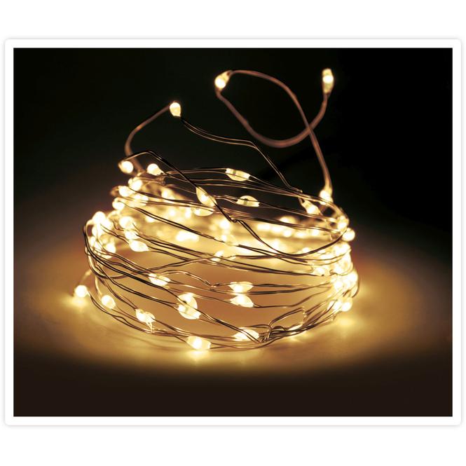 20er LED-Lichterdraht - warmweiß - 1 m - gold