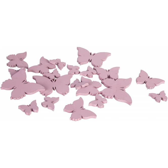 Streudeko - Schmetterlinge - aus Holz - 20 Stück - rosa