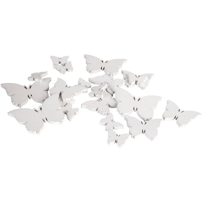 Streudeko - Schmetterlinge - aus Holz - 20 Stück - weiß