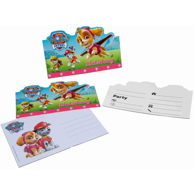 Paw Patrol Einladungskarten - pink - inkl. Umschläge - 6 Stück