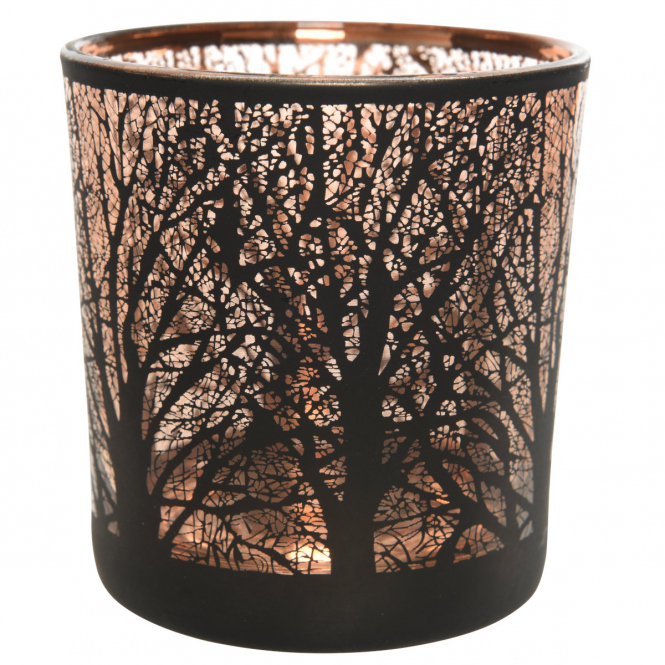 Teelichtglas - Baum - ca. 7,5 x 8 cm