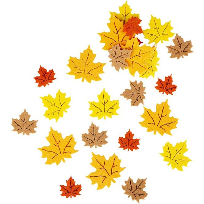Streudeko - Herbstblätter - aus Filz - 24-teilig