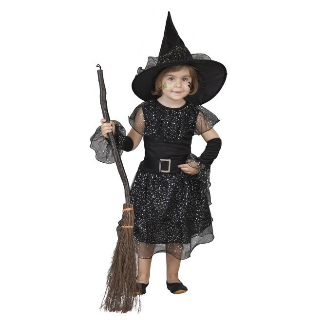 Kostüm - Glitzerhexe - für Kinder - 3-teilig - verschiedene Größen