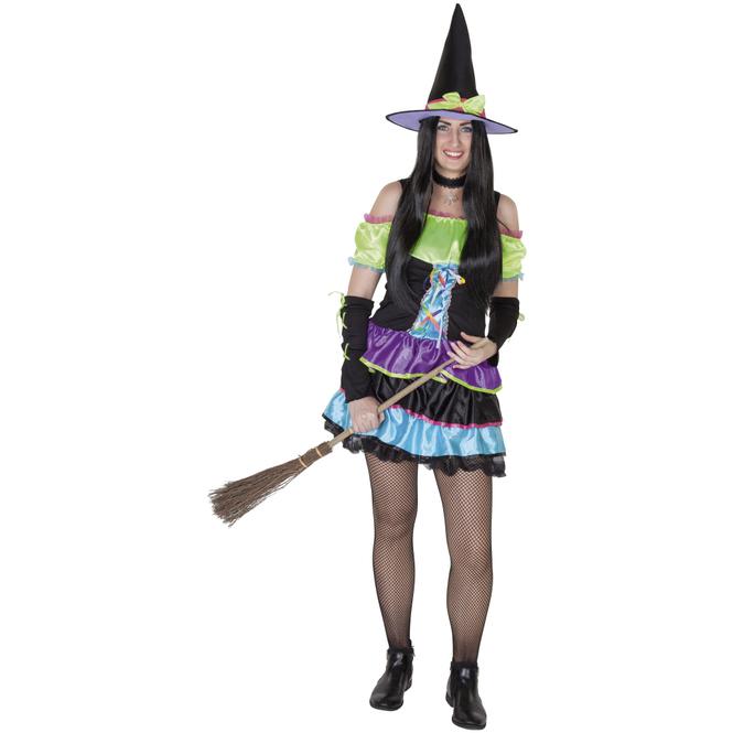 Kostüm - Farbenhexe - für Erwachsene - 3-teilig - verschiedene Größen