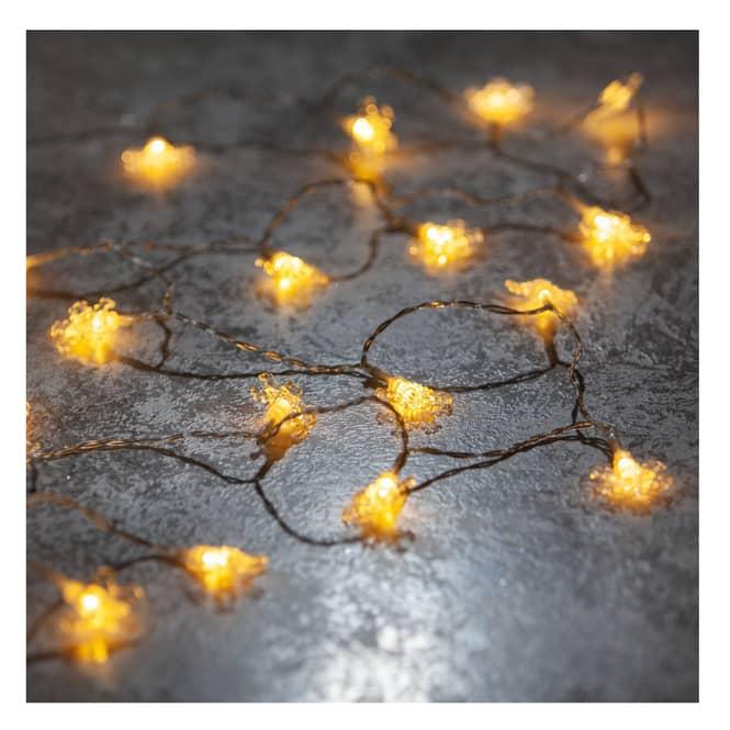 20er LED-Lichterkette - Schneeflocken - 220 cm