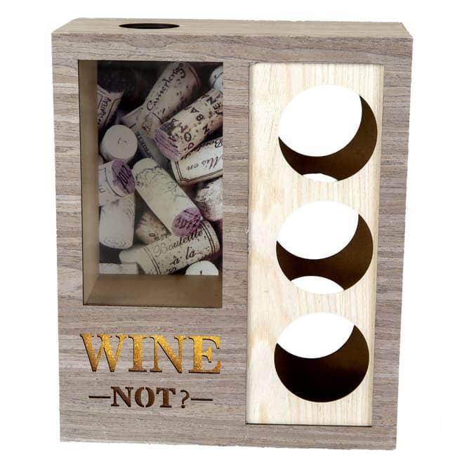 LED-Weinflaschenhalter - aus Holz - 28 x 12,5 x 34 cm