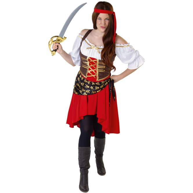 Kostüm - Piratin - für Erwachsene - 3-teilig - verschiedene Größen
