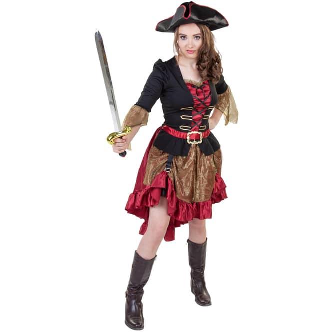 Kostüm - Piratenkapitänin - für Erwachsene - 2-teilig - verschiedene Größen