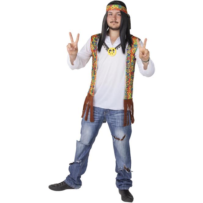 Kostüm - Hippie - für Erwachsene - 3-teilig - Größe 52/54