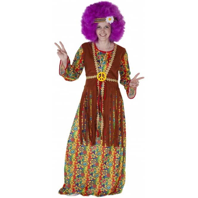 Kostüm - Hippie-Lady - für Erwachsene - 3-teilig - Größe 36/38