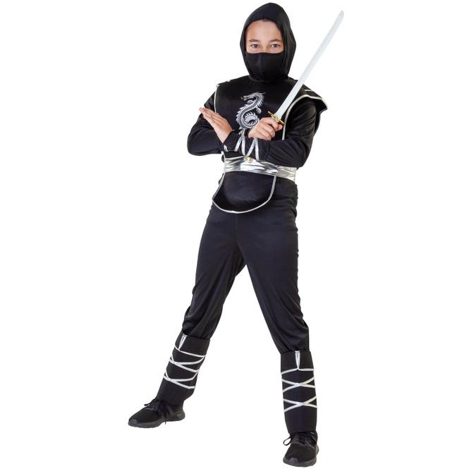 Kostüm - Ninja - für Kinder - 7-teilig - Größe 134/140