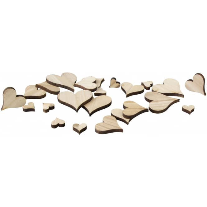 Streudeko - Herzen - aus Holz - 25 Stück