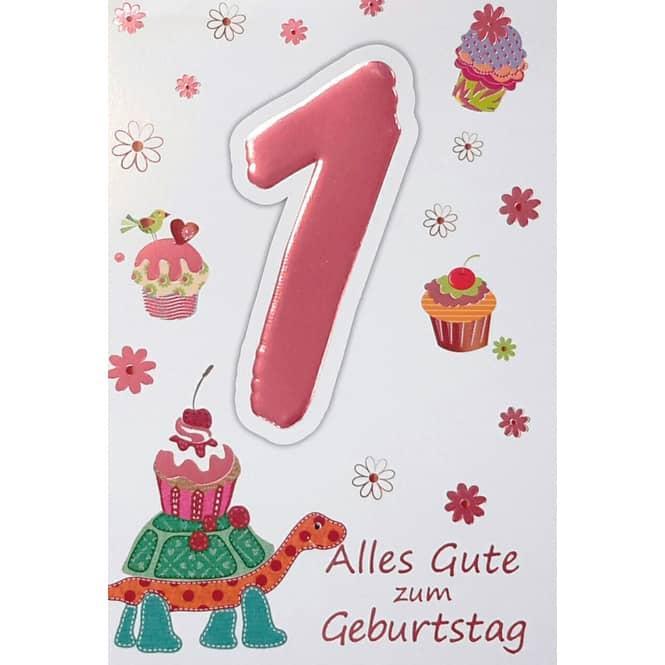Zahlengeburtstagskarte 1. Geburtstag - Mädchen