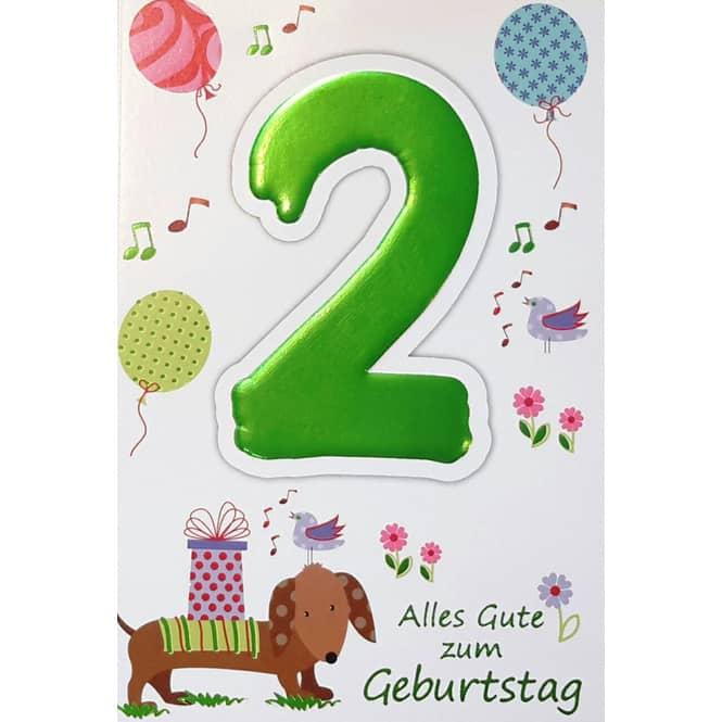 Zahlengeburtstagskarte 2. Geburtstag