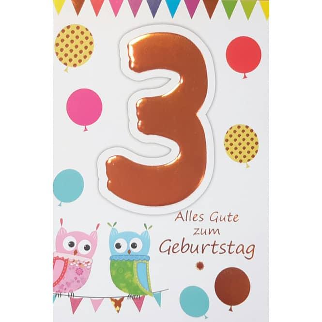 Zahlengeburtstagskarte 3. Geburtstag