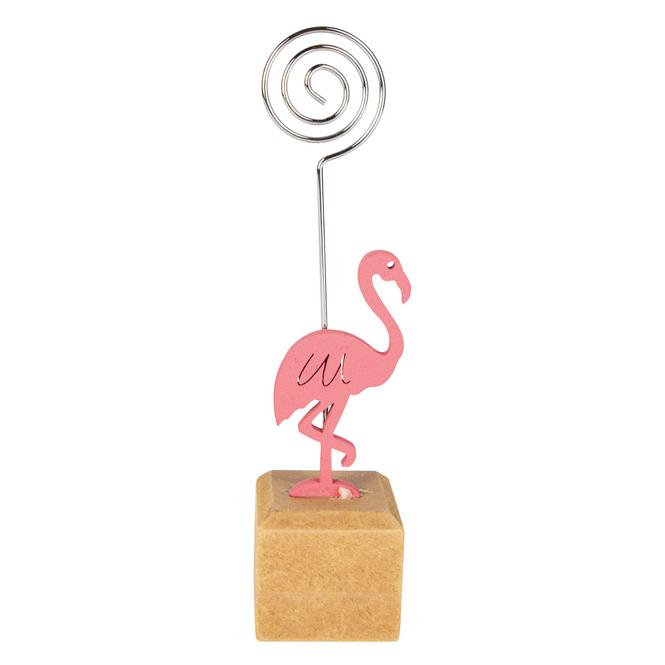 Notizhalter - Flamingo - aus Holz - ca. 3,5 x 3,5 x 14 cm
