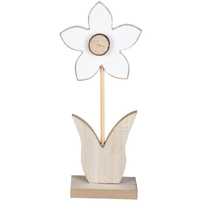 Dekoblume - aus Holz - 9,5 x 4 x 22 cm - weiß