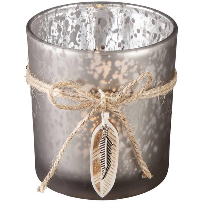 Teelichtglas - Federn - 7,5 x 8 cm