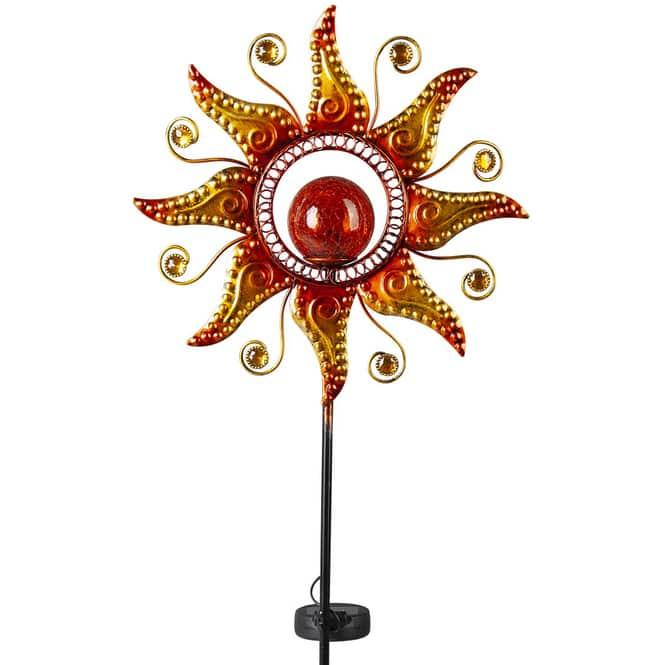 Pflanzenstecker mit Solarlampe - Sonne - 29 x 6,5 x 107,5 cm