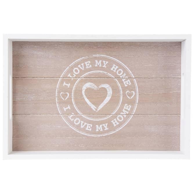 Tablett - I Love My Home - aus Holz - klein