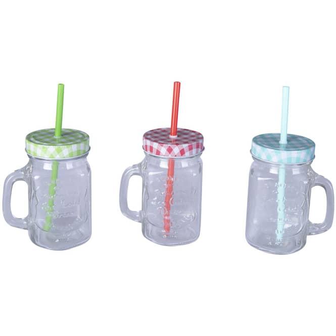 Trinkglas mit Deckel und Trinkhalm - 450 ml - 1 Stück