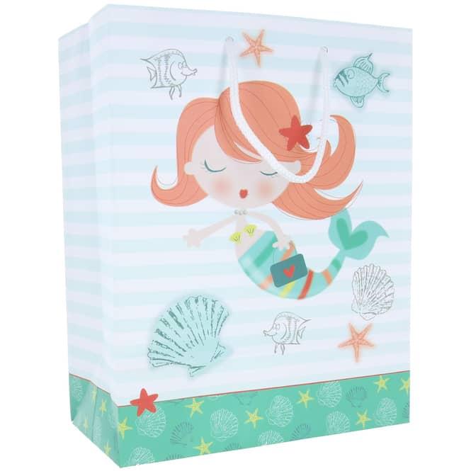 Geschenktasche - Meerjungfrau - 26 x 32,5 x 12,5 cm
