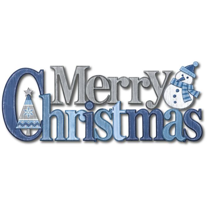 Wanddeko - Merry Christmas - 38 cm - grau/blau