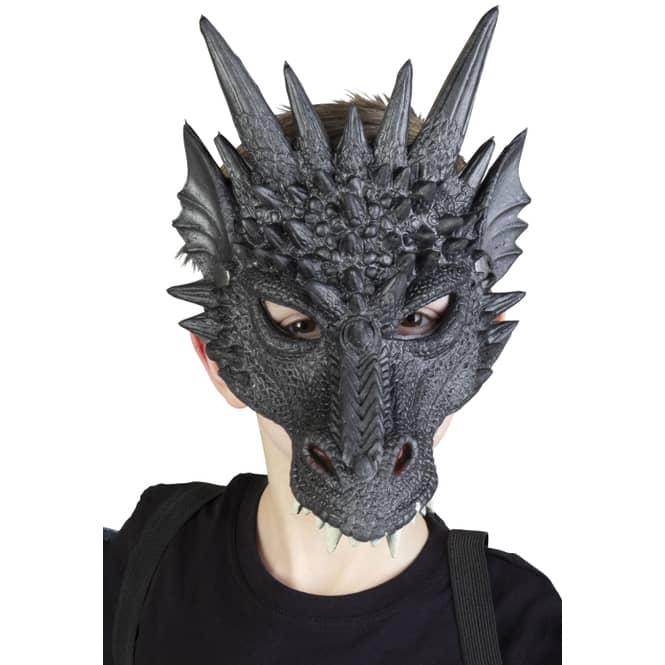 Halloweenmaske - Drache - für Kinder - schwarz