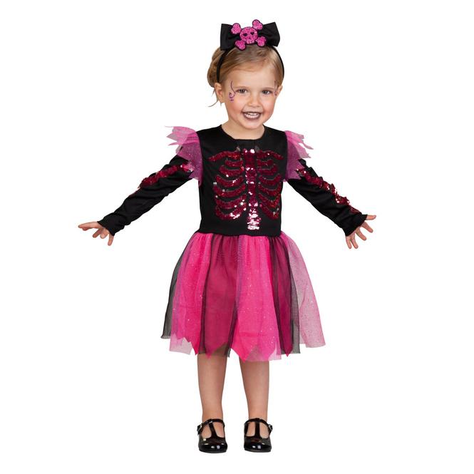 Kostüm - Skelettmädchen - für Kinder - 2-teilig - Größe 98/104