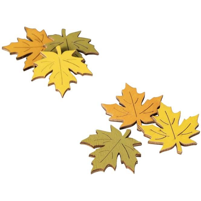 Streudeko - Herbstlaub - aus Holz - 24 Stück