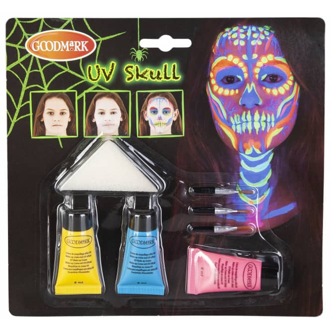 Schminkset - UV Totenkopf - Make-up mit Zubehör