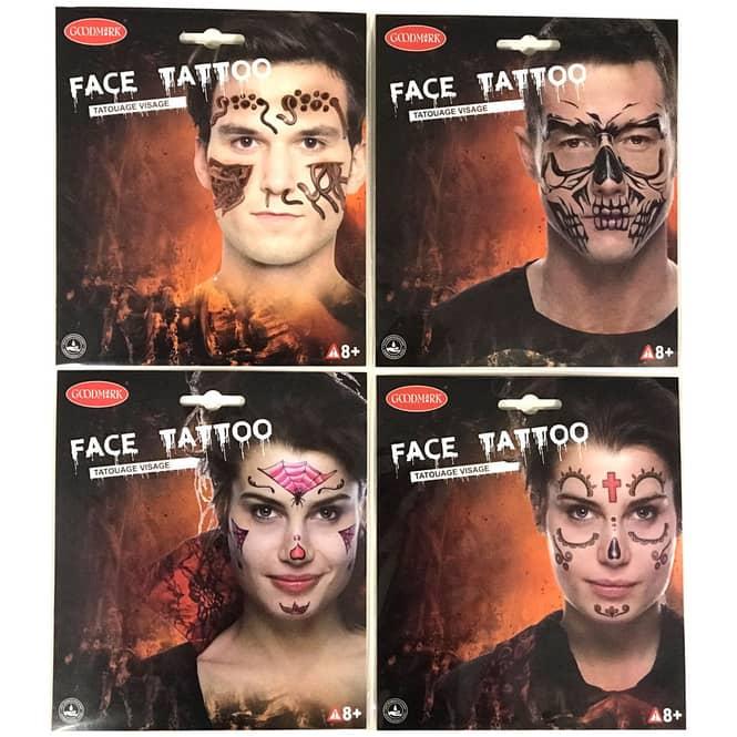 Face Art Tattoos - Halloween - 1 Bogen