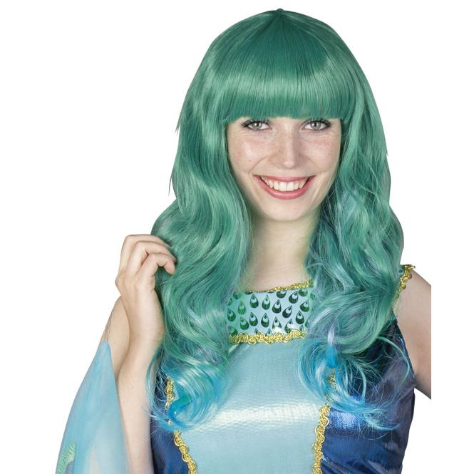 Langhaarperücke für Erwachsene - Grün/blau