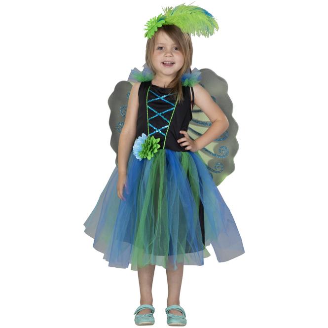 Kostüm - Pfauenfee - für Kinder - 3-teilig - Größe 122/128
