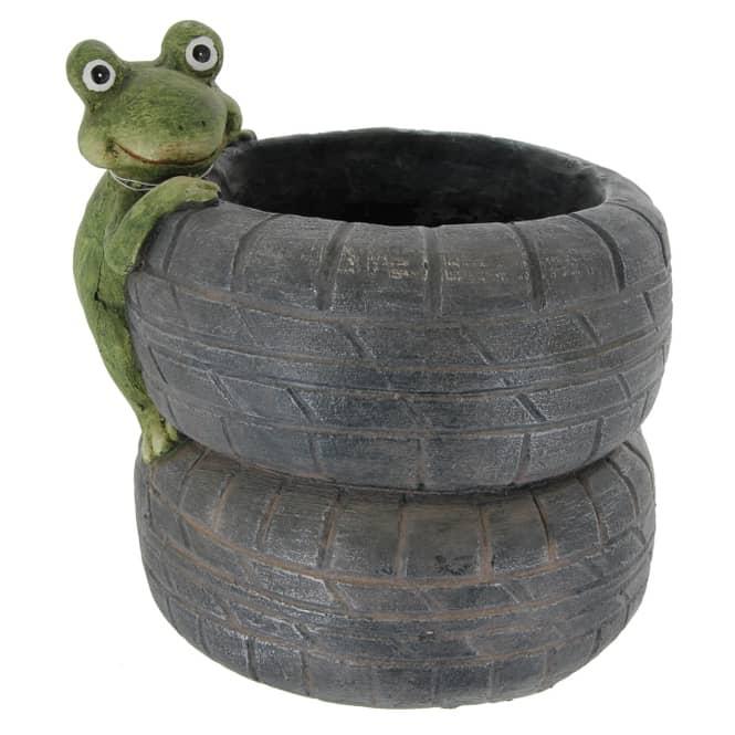 Pflanzgefäß - Reifen - aus Magnesia - 26 x 23 x 26 cm
