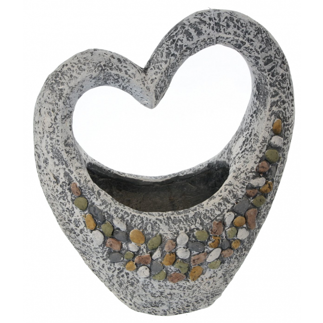 Pflanzgefäß - Herz - aus Magnesia - 37,5 x 19,5 x 44,5 cm