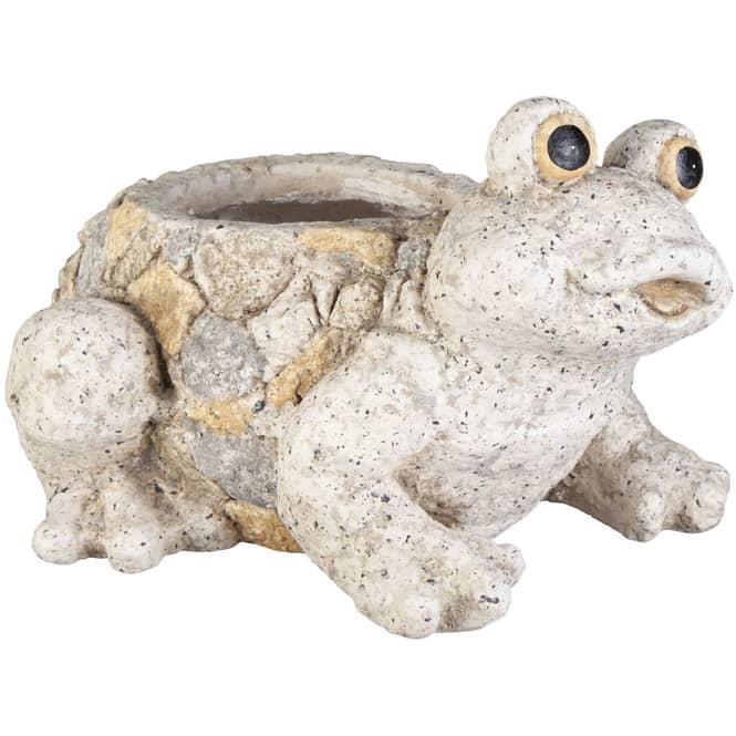 Pflanzgefäß - Frosch - aus Magnesia - 31,5 x 26 x 19,5 cm