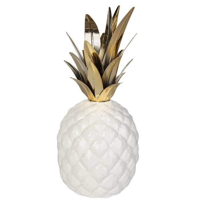 Ananas - aus Keramik - ca. 11,5 x 11,5 x 26 cm - weiß/gold